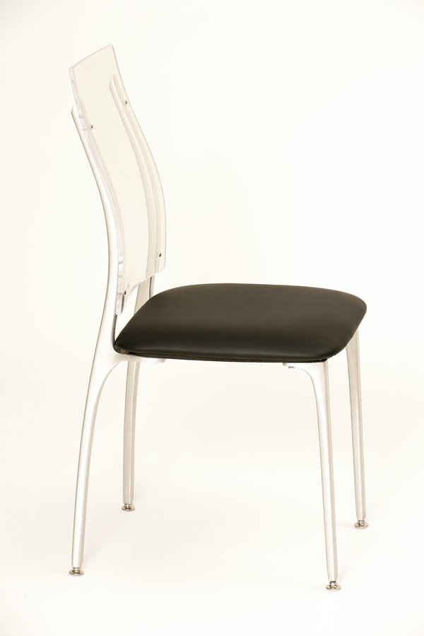 Chair, Alta, Black Uph. Seat/Acrylic Back