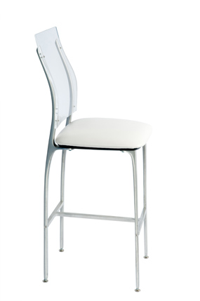 Stool, Alta, Black Uph. Seat/Acrylic Back