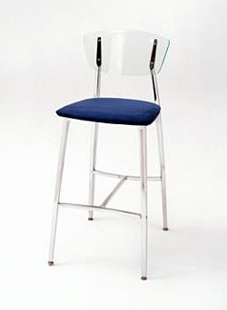 Arc Stool Upholstered Seat/Acrylic Back