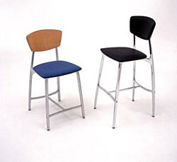 Arc Stool Upholstered Seat/Wood Back