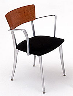 Lola Chair Upholstered Seat/Wood Back with Arms